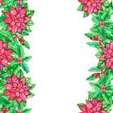 Molde da aquarela do Natal com folhas coloridas imagens de stock royalty free