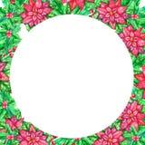 Molde da aquarela do Natal com folhas coloridas fotos de stock