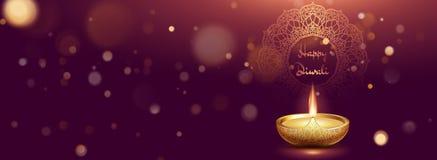 Molde da bandeira com a l?mpada de ?leo real?stica no fundo roxo escuro com efeito da luz para a celebra??o do festival de Diwali ilustração do vetor