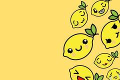 Molde da bandeira com lugar para o texto - ilustração engraçada do vetor dos limões de Emoji ilustração royalty free