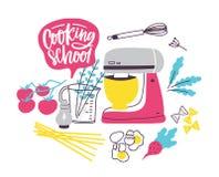 Molde da bandeira com os utensílios do cookware ou da cozinha para a preparação dos alimentos Ilustração colorida do vetor no pla ilustração stock