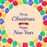 Molde da bandeira do Natal com quinquilharias Elemento do projeto do feriado de inverno Objeto do ano novo Foto de Stock