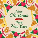 Molde da bandeira do Natal Elemento do projeto do feriado de inverno Objeto do ano novo Fotos de Stock