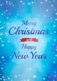 Molde da bandeira do Natal Fundo do inverno com ligth e os flocos de neve azuis Imagem de Stock