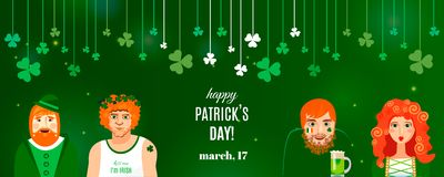 Molde da bandeira do trevo do conceito para o projeto do dia de St Patrick ilustração do vetor