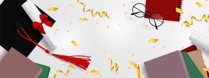 Molde da bandeira do vetor da gradua??o O fundo Congrats gradua-se com os objetos vistos de cima do chapéu com o papel do grau, l ilustração royalty free