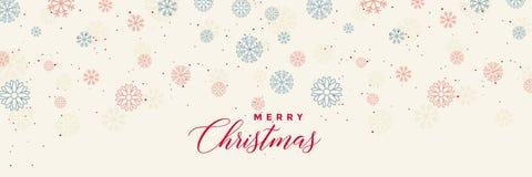 Molde da bandeira dos flocos de neve do inverno para o Feliz Natal ilustração royalty free
