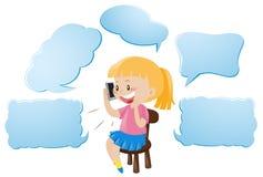 Molde da bolha do discurso com a menina que fala no telefone Foto de Stock Royalty Free