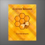 Molde da brochura no tema da apicultura Foto de Stock