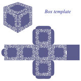 Molde da caixa azul com elementos florais brancos Ilustração Stock