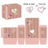 Molde da caixa com corações e as listras coloridas ilustração stock