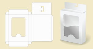 Molde da caixa empacotar Caixa de cartão branca Caixa branca aberta do pacote do cartão Fotografia de Stock Royalty Free