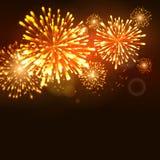 Molde da celebração do feriado do ano novo do fogo de artifício Fundo do evento do carnaval da chama do fogo de artifício do veto Fotos de Stock