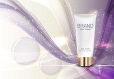 Molde da garrafa de tonalizador da pele para anúncios ou fundo do compartimento Fotografia de Stock