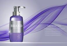 Molde da garrafa do gel do chuveiro para anúncios ou fundo do compartimento Imagem de Stock