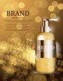 Molde da garrafa do gel do chuveiro para anúncios ou fundo do compartimento Fotografia de Stock