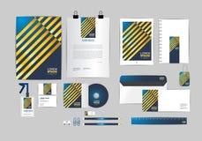 Molde da identidade corporativa do azul e do ouro para seu negócio Imagens de Stock