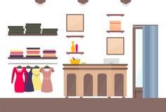 Molde da loja com roupa variada da fêmea de Vogue ilustração stock