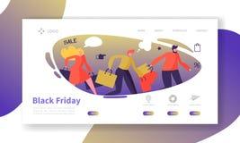Molde da página da aterrissagem de Black Friday Disposição sazonal do Web site do disconto com caráteres lisos dos povos com saco Ilustração Royalty Free