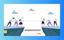 Molde da página da aterrissagem do desafio da competição do negócio Conceito da rivalidade Corda puxando do caráter liso dos empr ilustração royalty free