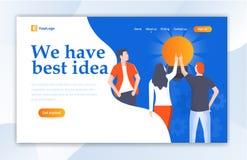 Molde da p?gina da aterrissagem do design web de Team Work For Idea Ui para ilustração stock