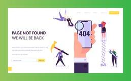 Molde da página da aterrissagem do erro da manutenção 404 A página não encontrou sob o conceito da construção com os caráteres qu ilustração royalty free