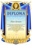 Molde da placa do diploma do esporte ilustração royalty free