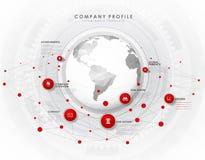 Molde da vista geral do perfil da empresa com círculos vermelhos ilustração stock