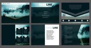 Molde da Web do vetor Projeto incorporado do Web site Paisagem borrada da montanha ilustração stock