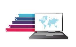 Molde das bandeiras do gráfico de negócio do projeto do portátil Fotos de Stock Royalty Free