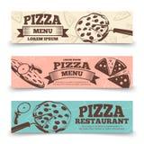 Molde das bandeiras do menu da pizza - bandeiras do vintage do alimento ilustração royalty free