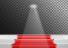 Molde das escadas do vetor escadas realísticas da fase do vencedor do vetor 3D com tapete vermelho e luz brilhante Fotografia de Stock Royalty Free