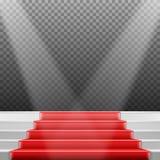 Molde das escadas do vetor escadas realísticas da fase do vencedor do vetor 3D com tapete vermelho e luz brilhante Foto de Stock Royalty Free