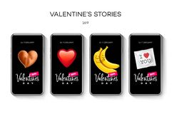 Molde das histórias do dia de Valentim fluir Grupo editável universal criativo no estilo na moda com as caras do smiley do emoji ilustração stock