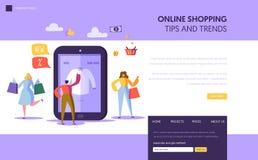 Molde de aterrissagem de compra em linha da página Caráteres que compram a roupa usando Smartphone, conceito do comércio eletrôni ilustração stock