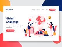 Molde de aterrissagem da página do conceito global do desafio r ilustração stock