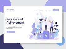 Molde de aterrissagem da página do conceito da ilustração do sucesso e da realização Conceito de projeto liso moderno do projeto  ilustração stock