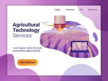 Molde de aterrissagem da página do zangão ou do quadcopter para a agricultura O conceito de projeto liso do projeto do página da  ilustração royalty free