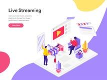 Molde de aterrissagem da página de Live Streaming Isometric Illustration Concept Conceito de projeto liso isom?trico do projeto d ilustração do vetor