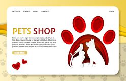 Molde de aterrissagem do Web site da página da loja de animais de estimação do corte do papel do vetor ilustração royalty free