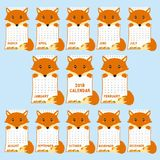 Molde de 2018 calendários Fox bonito dado forma animal, vetor dos desenhos animados do calendário do outono 2018 ilustração stock