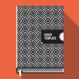 Molde de capa do livro com teste padrão geométrico monocromático Imagens de Stock
