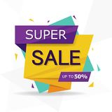 Molde de compra colorido do folheto do cartaz do inseto da venda, elementos da venda do desconto fotos de stock