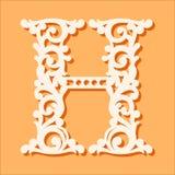 Molde de corte do laser Letras iniciais do monograma Letra floral extravagante do alfabeto ilustração do vetor