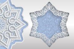 Molde de cumprimentos ou de convites do casamento 3D a mandala, estrela deu forma ao quadro com bordas do laço Fundo floral na pa Foto de Stock Royalty Free