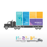 Molde de Infographic com a bandeira do caminhão do recipiente. Imagem de Stock