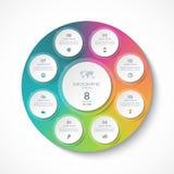 Molde de Infographic com 8 círculos, opções, etapas, peças Imagens de Stock Royalty Free