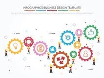 Molde de Infographic com engrenagem, trabalhador e ícones fotografia de stock royalty free