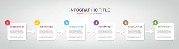 Molde de Infographic com estilo encaixotado da caixa para o espaço temporal da etapa ou do processo com vária cor com 6 etapa - v ilustração royalty free