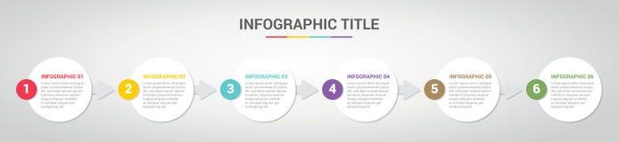 Molde de Infographic com estilo redondo do círculo para o espaço temporal da etapa ou do processo com vária cor com 6 etapa - vet ilustração royalty free